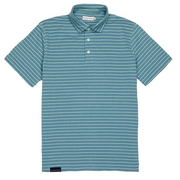 Smilethealbum - Covington Polo: Dusty Blue Stripe