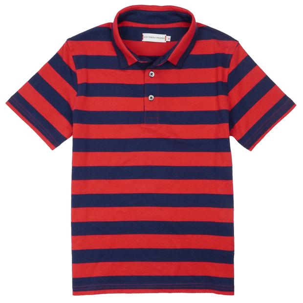 Smilethealbum - Boys - Covington Polo: Proper Red Stripe