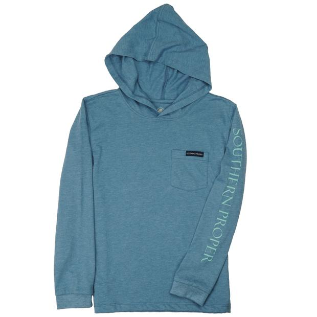 Smilethealbum - Boys - Hoodie Long Sleeve Tee: Heather Blue Shadow