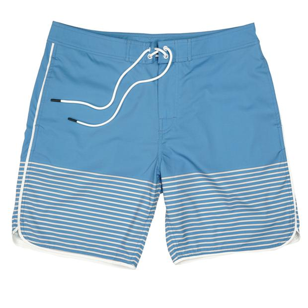 Smilethealbum - Seaside Swim Short: Blue Shadow Stripe