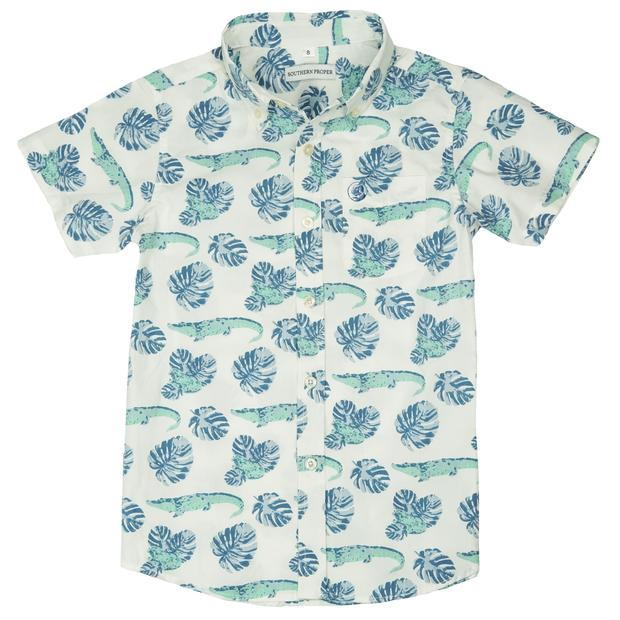 Smilethealbum - Boys - Social Shirt: Gator Palm