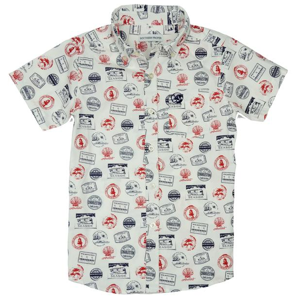 Smilethealbum - Boys - Social Shirt: Beach Stamps
