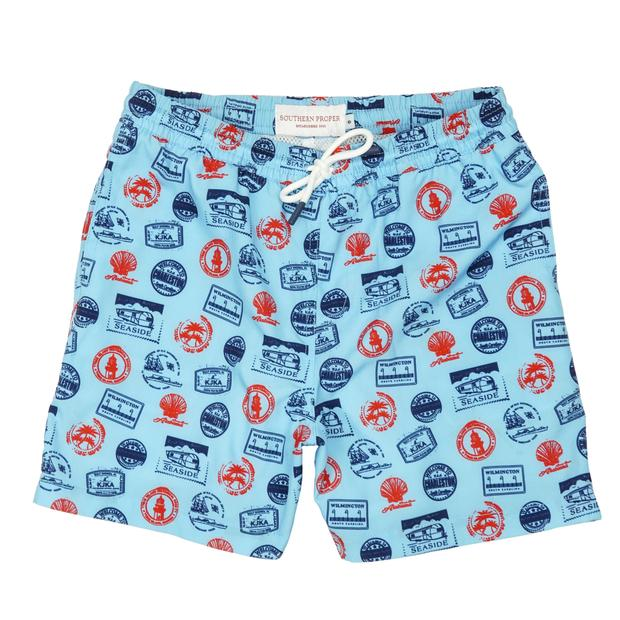 Smilethealbum - Boys - Southern Swim Trunk: Beach Stamps