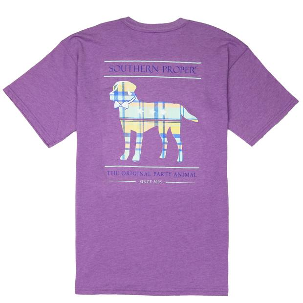 Smilethealbum - Boys - Madras Party Animal Tee: Heather Hyacinth