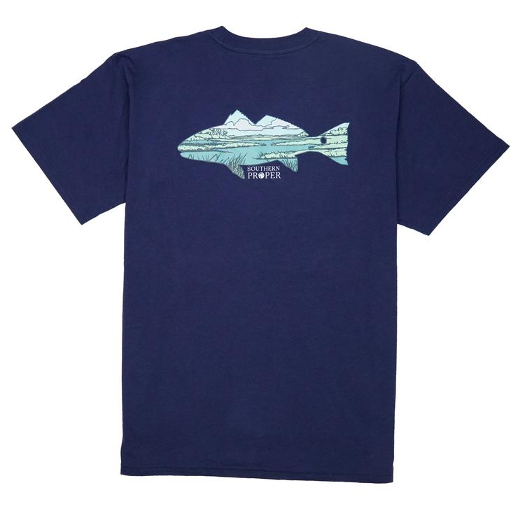 Smilethealbum - Marsh Fish Tee: Patriot Blue