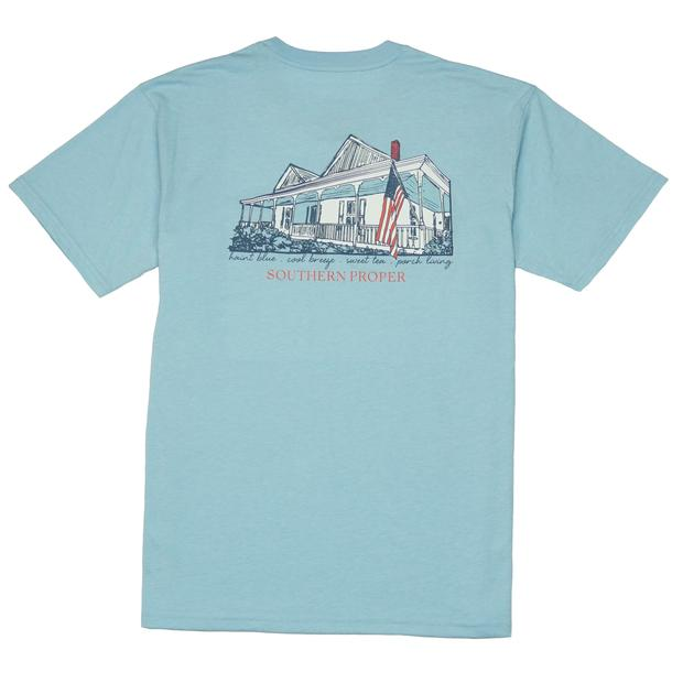 Smilethealbum - Porch Living Tee: Heather Porch Blue