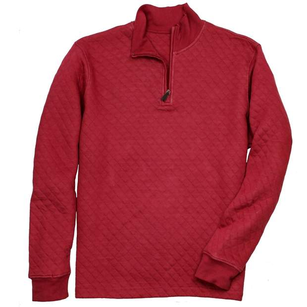 Smilethealbum - Beau Quilted Quarterzip: Barn Red