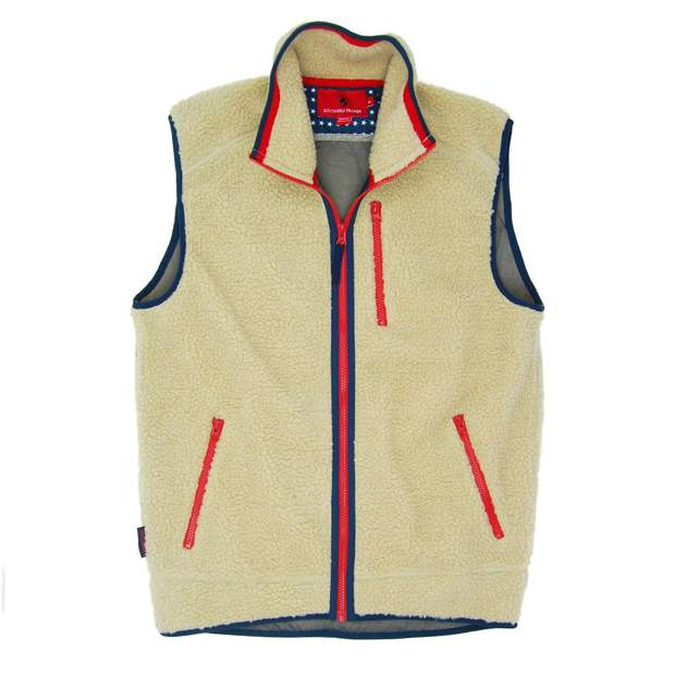 Smilethealbum - Old Glory Sherpa Vest - Cream