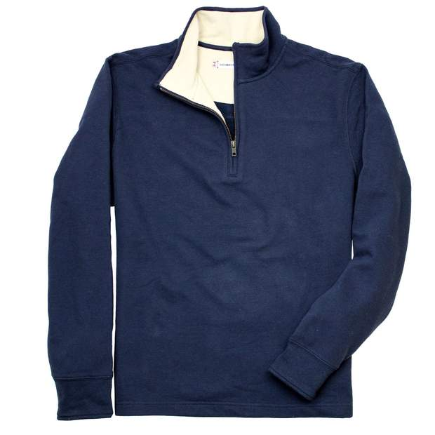 Smilethealbum - Porch Pique Quarterzip: Proper Navy