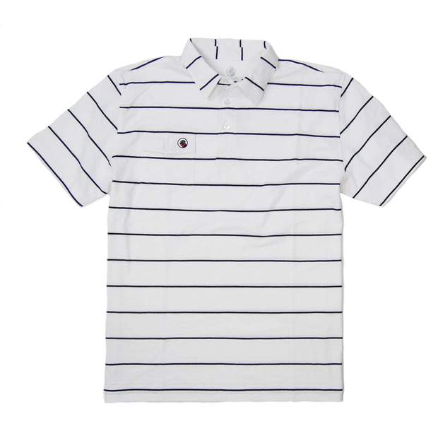 Smilethealbum - Proper Polo: Navy/White Stripe